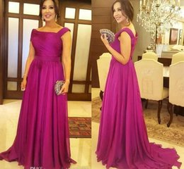 $enCountryForm.capitalKeyWord Australia - Plus Size Mother Of The Bride Dresses Off the Shoulder Fuchsia Chiffon Draped Floor Length Evening Prom Party Gowns Wedding Guest Gowns