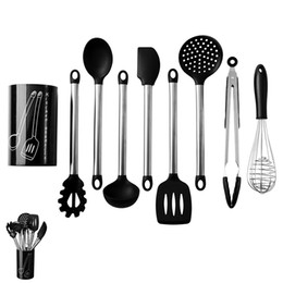 $enCountryForm.capitalKeyWord Australia - Silicone Stainless Steel Kitchen Utensils 9 PCS set Spoon Food Clip Egg Beater High Temperature Multi-purpose Kitchen Cooking Baking Tools