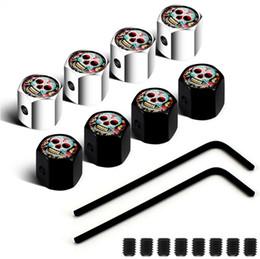 Bloqueable Negro Color Plata antirrobo cabeza del tapón antipolvo de neumáticos tapas de las válvulas Placas emblemas cráneo de la flor en venta