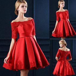 Lace Up Short Red Cocktail Dresses Australia - 2019 Off Shoulder Knee Length Short Sleeves Homecoming Dress Lace Up Satin Appliques Ruffles Mini Prom Cocktail Dresses