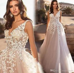 Castle models online shopping - Summer Beach Elegant Lace Tulle Wedding Dresses Deep V Neck Sexy Backless A Line Tulle Wedding Bridal Gowns Vestidos De Noiva