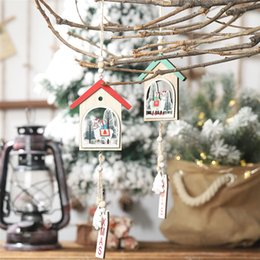 wooden tree shapes 2019 - 1PCS Christmas Sheep small house Wooden Pendants Ornaments House Shape Xmas Tree Ornament For Christmas Party Decoration