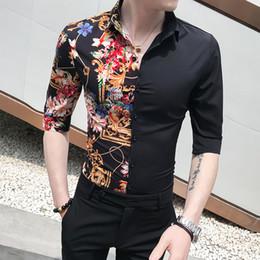 Shirt Korean Designs Australia - Patchwork Design Print Mens Casual Shirts Slim Fit Tuxedo Summer Korean Men Clothes 2019 Half Sleeve Shirt Men Turn Down Collar