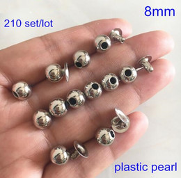 $enCountryForm.capitalKeyWord Australia - 210 sets Round Silver Pearl Rivet Studs 8mm Pearl Rivet Spikes For Hat,Jacket,Jeans,Leather Decoration