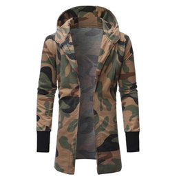 Green Cardigan Men UK - Brand 2019 Hoodie Longline Hip Hop Camouflage Cardigan Hoodies Men Fashion Tracksuit Male Sweatshirt Hoody Mens Tour Hoodie