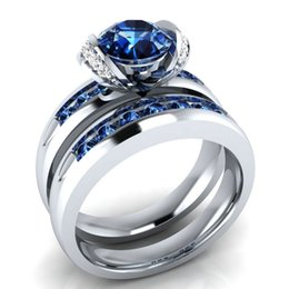 Simplicity Ring UK - Hot style stylish simplicity lady zircon ring silver plated couples pair ring