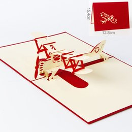 3d Handmade Pop Up Greeting Cards Plane Design Thank You Airplane Birthday Suit For Boy Friend Kids