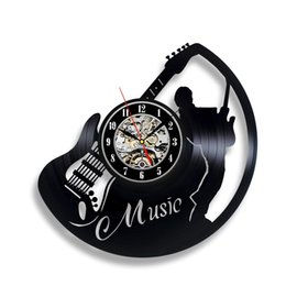 Black Circles Guitar UK - Guitar Music Instrument Art Gift Circle Vinyl Wall Clock Art Home Decor Interior Design