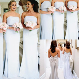 StrapleSS big wedding dreSSeS online shopping - New Hot Sale Cheap Bridesmaid Dresses Strapless Chiffon Sleeveless Sexy Open Back With Big Bow Wedding Guest Dress Maid of Honor Gowns