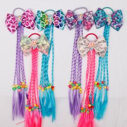 $enCountryForm.capitalKeyWord Australia - Bearty Colorful Child Kids Hair Holders Mermaid Hair Bow For Band Elastic Hair Accessories Charms Tie Gum Heawear 10pcs