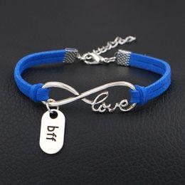 $enCountryForm.capitalKeyWord NZ - Vintage Silver Infinity Love Bff Best Friend Forever Braided Royal Blue Leather Suede Cuff Charm Bracelets Bangles Fashion Women Men Jewelry