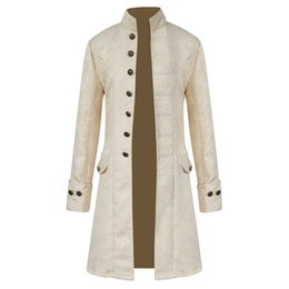 Long Jacket Costume Australia - 2018 Retro Mens Gothic Brocade Jacket Coat Steampunk Stand Collar Costumes Long Sleeved Trench Coat