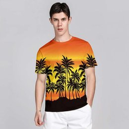 coconut tree t shirt UK - 2020 new men's summer t shirt round neck short sleev 3d Digital printing Hawaiian style sunset coconut tree Young people's loose leisure top