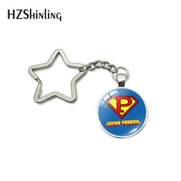 Key Holding Australia - 2019 Classic New Design Meilleur PAPA Star Key Chain Super Parrain Glass Dome Car Bag Hold Key Chains Jewelry Men Women