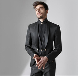 designer tuxedos men NZ - Abito Da Sposo Designer Black Mens Suits Groom Tuxedos Shawl Lapel Men Blazer Jackets Three Pieces Groomsmen Evening Prom Party Gowns