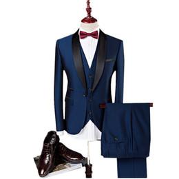 Wine Vest Australia - Pure Color Men Suit Jacket + Pant + Vest Asia size S - 4XL Navy Blue Wine red Men suit three-piece set Business wedding Blazer