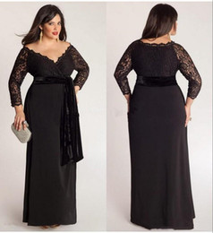 $enCountryForm.capitalKeyWord Australia - Black Plus Size Lace Long Sleeve Sheath Chiffon Evening Dresses V-Neck With Velvet Sash Floor Length Special Occasion Gowns Prom Dress