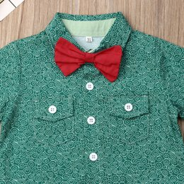 linen suit summer wedding UK - Boy Clothes Kids Baby Boy Summer Suit Wedding Bowtie Gentleman Tops Shirt Shorts Outfits