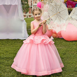 $enCountryForm.capitalKeyWord Australia - Cute Girls Princess Pageant Flower Long Dress Kids Dresses for Girls Birthday Party Gowns Children Girls Formal Evening Clothing