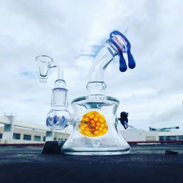 hot bong Australia - 7 inch mini dab rig honey bee oil rig 2019 hot selling glass water pipe bong with 14mm quartz banger