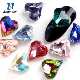 $enCountryForm.capitalKeyWord Australia - diamond nails Blueness 5PCS Heart Shape Drill 10 Colors K9 Glass Diamond Nail Art Rhinestone Nail Glitter Crystal Stones PJ663-673