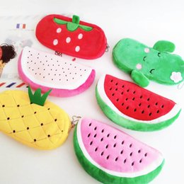 watermelon cosmetic bags cases Australia - Cute Fruit Watermelon Cactus Plush Pencil Case Cosmetic Bag Pen Box for Girls Gift Stationery Pouch School Office Supplies