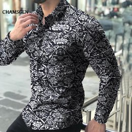 sleeves shirts for men Canada - CHAMSGEN Fashion Shirts For Men Long Sleeve Floral Print Shirt Autumn Casual Shirts Men Dress Camisa Lapel Chemise Homme F519