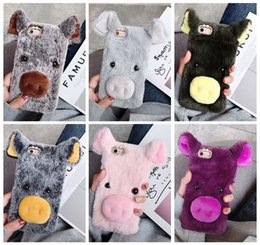 3d cases bow online shopping - 3D Pig Genuine Hair Case For iPhone XR MAX X Note S10 S10e Fluffy Fur Cover Soft TPU Rabbit Fur Plush Cute Lovely Ear Bow