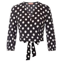 Pattern Decor Australia - Bp Women Retro Vintage Cropped Length Shirt Polka Dot Pattern Bow Self Tie Decor Three Quarter Sleeve V-neck Wrap Front Tops C190416