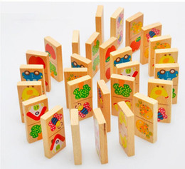 wooden domino puzzle NZ - Blocks Bricks Toys 28PCS Animal Colored Dominoes Wooden Puzzle Cartoon Montessori Educational Baby Toys Cute Birthday Gifts Kids Games