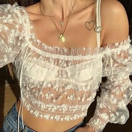 cropped tees Australia - Off-the-shoulder Lace Embroidery Crop Top Women Sexy Mesh Top T-shirts Ladies Lace-up Puff Sleeve Ruffles Tee Shirt cwt0206-5