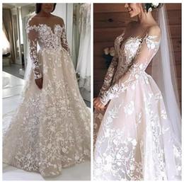 $enCountryForm.capitalKeyWord Australia - A Line Long Sleeve Muslim Lace Champagne Wedding Dresses Sheer Top African Spring Wedding Dress Bridal Gown 2019 vestido de casamento