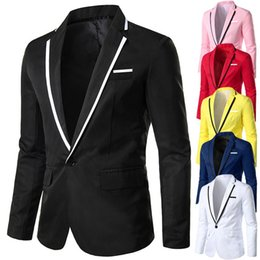 Wholesale mens slim fit pink suit resale online - Mens Stylish Casual Solid Blazers Business Wedding Party Outwear Slim Fit Male Jacket Coats Solid Suit Tops