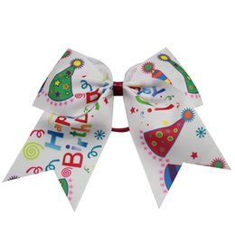 $enCountryForm.capitalKeyWord Australia - 5pcs Lovely Cartoon Hair Bow Grosgrain Ribbon Cheer Bows With Elastic Band For Girls Kids Handmade Hair Clip Hair Accessories