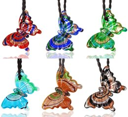 $enCountryForm.capitalKeyWord Australia - Animal Butterfly Multi-Color Lampwork Murano Glass Silver foil Weaving Pendants Necklaces Wholesale Retail Fashion Jewelry FREE #ng11