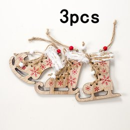 $enCountryForm.capitalKeyWord NZ - High Quality Wood Christmas Skating Shoes Ornaments Xmas Tree Hanging Decoration Pendant Gift