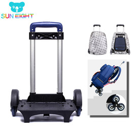 kids backpacks wheels Canada - SUN EIGHT Kid Trolley Backpack Wheeled Bag School Bag Luggage for Children 6 Wheels Expandable Rod High Function Trolly