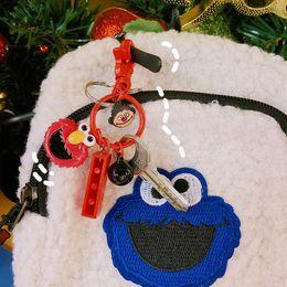 $enCountryForm.capitalKeyWord Australia - Girls Sesame Street Plush Key Chain Student Creative Elmo Cartoon Bell Bag Phone Charm Keys Buckle Trinkets Accessories Gadgets Keychain