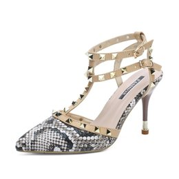 Serpentine Buckle NZ - Women Pumps 2019 New Rivet serpentine Double Buckle Fashion Woman Sandals Brand Designer sexy High Heels Pointed toe Party Shoes