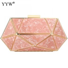 $enCountryForm.capitalKeyWord Australia - Rose Gold Acrylic Geometric Clutch Bag Designer Clutches Purse Prom Night Out Party Formal Ladies Marble Wedding Purse White Sac