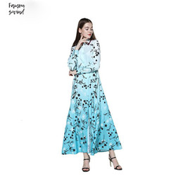 plus size maxi dress xxl Australia - Women Dress Floral Maxi Boho Summer Dress Flower Print Dress Long Sleeve Loose Plus Size Long Fur New Vintage Xxl