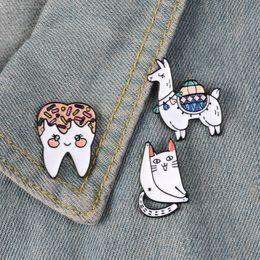 $enCountryForm.capitalKeyWord Australia - Camel Tooth Fun Cat Enamel Pin Cute kawaii badge brooch Lapel pin Denim Shirt bag Collar Animal Jewelry Gift for Kids Friends