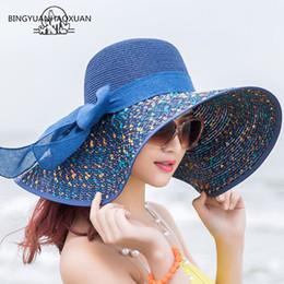 Large bLack fLoppy sun hat online shopping - BINGYUANHAOXUAN Brand Large Brim Floppy Floppy Hat Sun Hat Beach Women Foldable Summer UV Protect Travel Casual Female