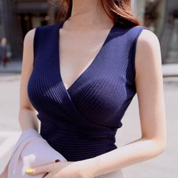 Cotton Tanks Australia - Summer Sexy Solid V-Neck Vest Office Lady Women Knitted Cotton Tank Casual Sleeveless Tank Top