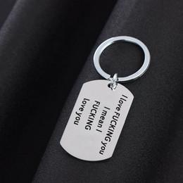 Dog Plates Australia - I Fucking Love You Keychain Dog Tag Stainless Steel Key Chain Key Rings Designer Keychain Holder Fashion Jewelry