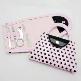 Christmas Gift Nails Australia - Pink Polka Purse Manicure Set Handbag Pedicure Set Wedding Favor Gifts Baby Shower Favors Nail Clippers Kit+DHL Free Shipping