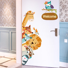 $enCountryForm.capitalKeyWord Australia - Cartoon Animals Wall Stickers DIY Children Mural Decals for Kids Rooms Baby Bedroom Wardrobe Door Decoration