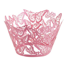 Laser cut baby online shopping - 60pcs Laser Cut Butterfly Cupcake Wrapper Muffin Paper Cup Cake Wedding Gift Box Birthday Party Favor Baby Shower Wedding Decor