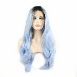long wavy dark blue wig UK - Natural Hairstyle Women' Fashion Dark Roots Ombre Light Blue Glueless Heat Resistant Fiber Long Wavy Synthetic Lace Front Wigs For Women