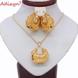 $enCountryForm.capitalKeyWord Australia - Adixyn Ethnic Rose Earrings Necklace Pendant Jewelry Set Rose Gold Color India Arabic Women Wedding Jewelry N031918